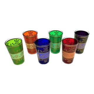 Moroccan Handpainted Tea Glasses - Set of 6