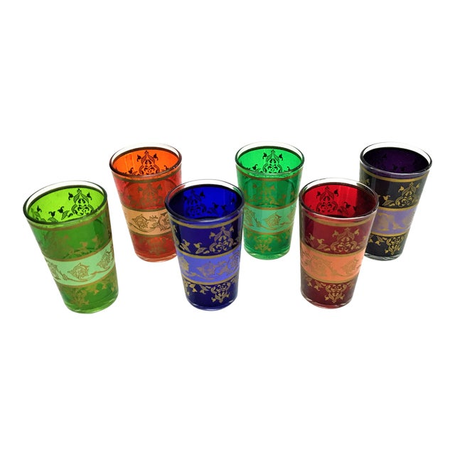 Moroccan Handpainted Tea Glasses - Set of 6 - Image 1 of 5