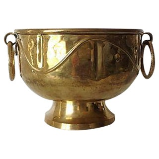 Brass Hammered Cachepot With Hooped Handles