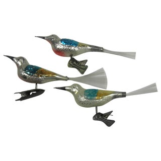 Glass Bird Clip-On Ornaments - Set of 3