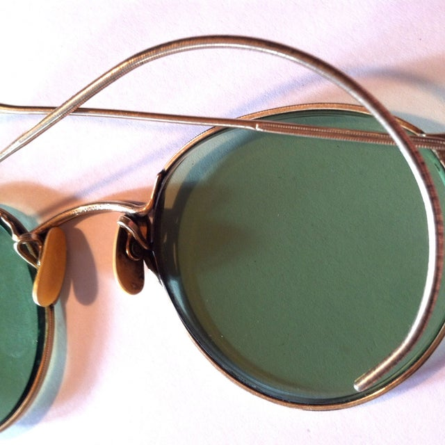 Image of 1930s Gold Filled Wire Rim Green Sunglasses