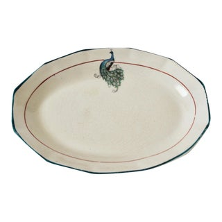 Fabulous Oval Ceramic Peacock Trinket Dish