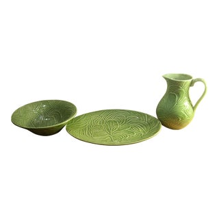 Cost Market Portuguese Ceramic Platter Serving Bowl & Pitcher - Set of 3