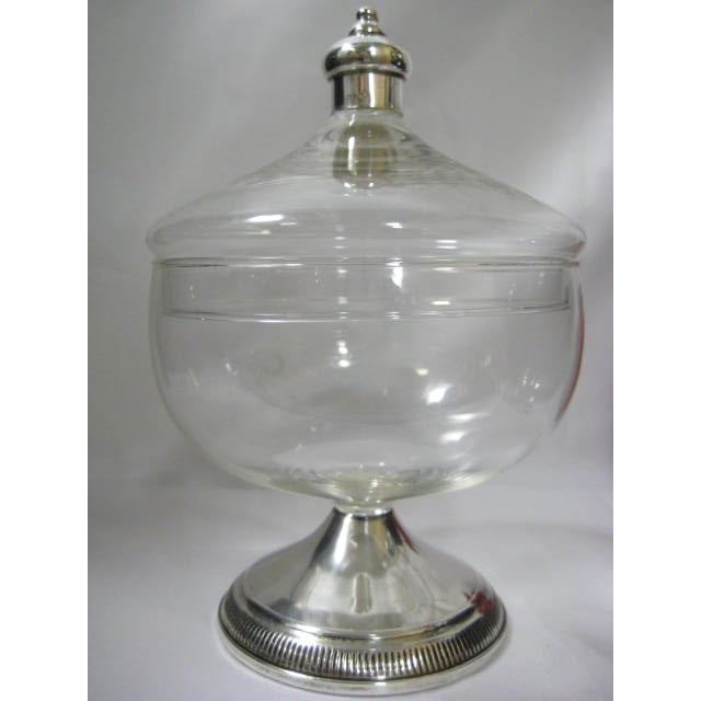 Sterling Finial & Base Covered Glass Candy Dish - Image 4 of 11