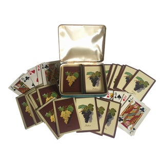 Vintage 1930's Rare Ambrosia Playing Cards Leather Box Double Deck Set
