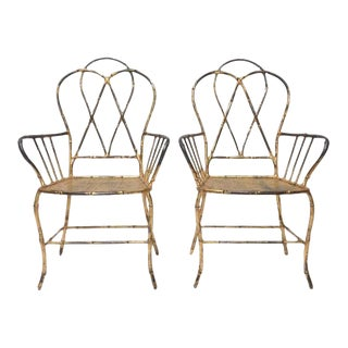 Pair of 1960s Gilt Metal Faux Bamboo Armchairs