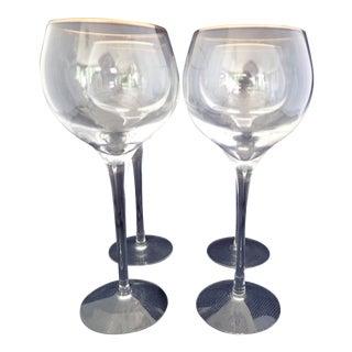 Gold Rimmed Crystal Wine Glasses - Set of 4