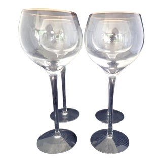 Gold Rimmed Crystal Wine Glasses - Set of 4