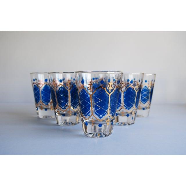 Image of Blue & Gold Whiskey Glasses - Set of 8