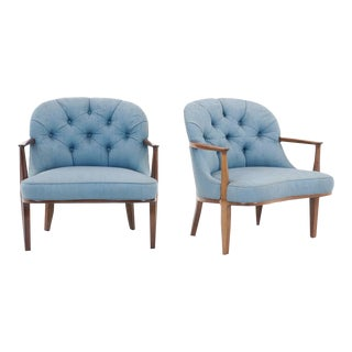 Pair of Janus Club Chairs Designed by Edward Wormely for Dunbar.