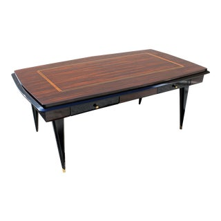 Monumental French Art Deco Exotic Macassar Ebony Desk, circa 1940s