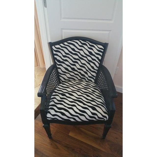 Zebra Print Cane Arm Chair Chairish
