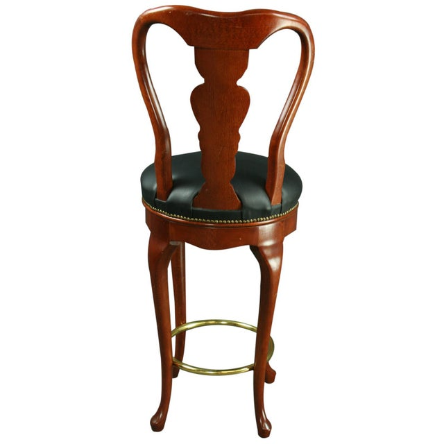Queen Anne New Bar Stools Mahogany/Faux - A Pair - Image 5 of 6