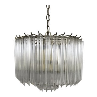 Mid-Century 2 Tier Lucite Waterfall Pendant Light Chandelier