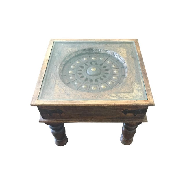Glass-Top Dark Wood Table - Image 1 of 4