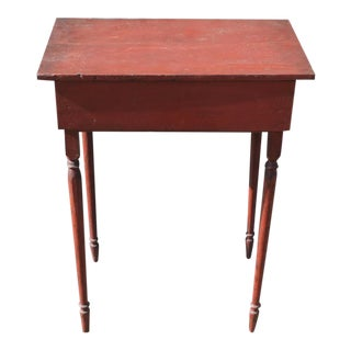 19th century Early Tall Original Red Painted Table from New England