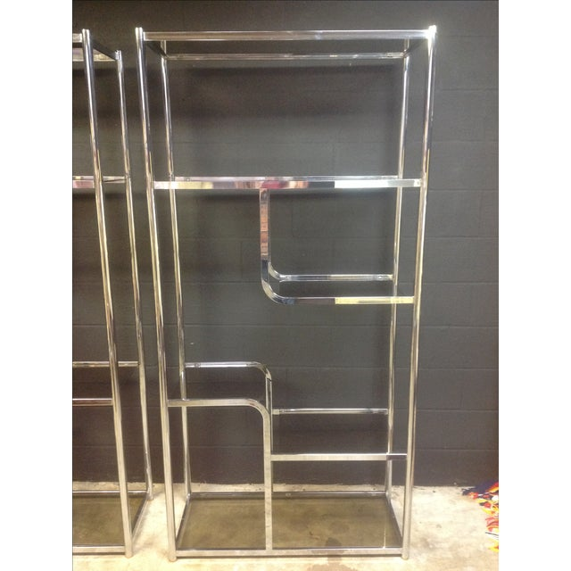 Image of Chrome And Smoked Glass Etagere - Pair