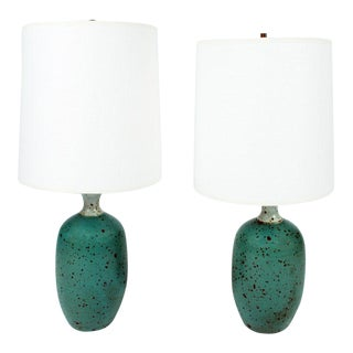 Gerry Williams Robins Egg Blue Ceramic Table Lamps - a Pair