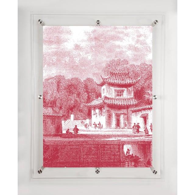 "Mitchell Black Home Acrylic Framed ""Bridge Chapoo"" Chinese Village Scene Print - Image 2 of 4"