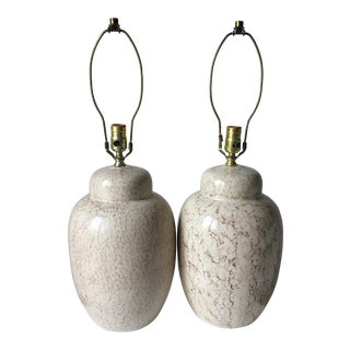 Mid-Century Ceramic Faux Travertine Lamps - A Pair