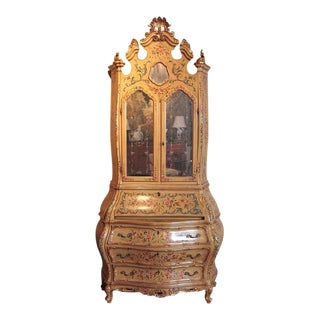 Early 20th Century Italian Venetian Painted & Gold Leaf Bombe Secretary