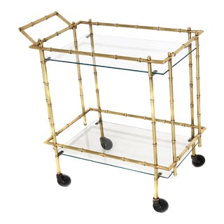 Mid Century Brass Faux Bamboo Bar Cart