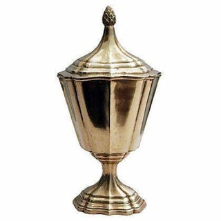 Brass Scalloped Pedestal Urn with Acorn Finial