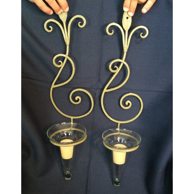 Wrought Iron Wall Candle Sconces - A Pair - Image 4 of 6