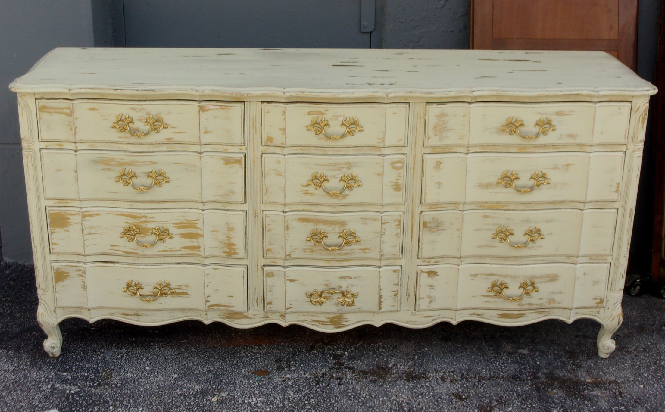 French Provincial Distressed 12-Drawer Dresser | Chairish