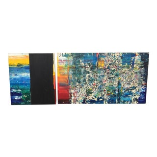 Tino Zago Abstract Paintings, Signed - A Pair