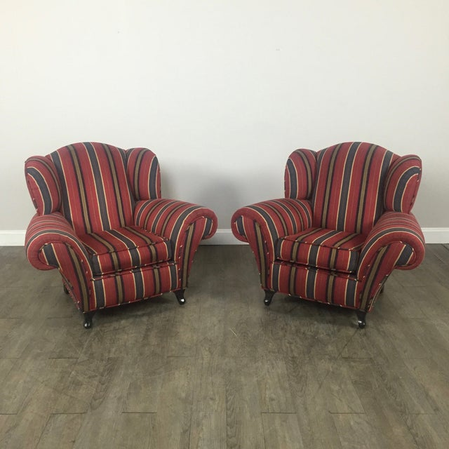 Kravet Club Chairs - A Pair - Image 2 of 11
