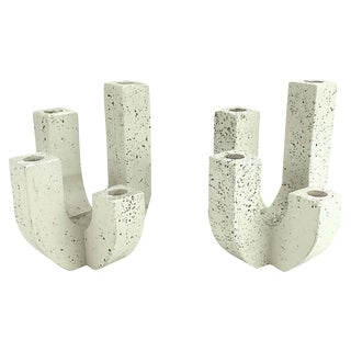 Raymor Travertine Candleholders - A Pair