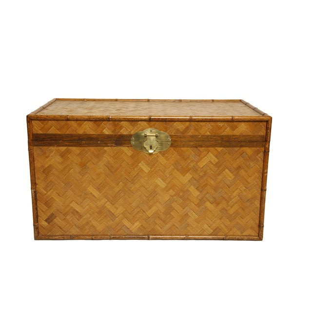 Vintage Rattan and Faux Bamboo Trunk - Image 1 of 6