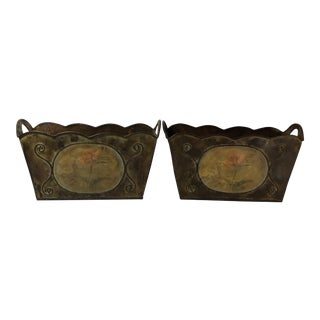 Vintage French Country Metal Jardinières - A Pair