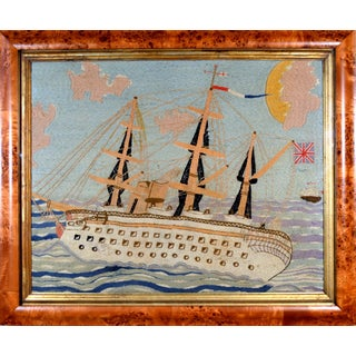 Folk Art Sailor's Large Woolwork Woolie of the Royal Navy Ship h.m.s. Crocodile