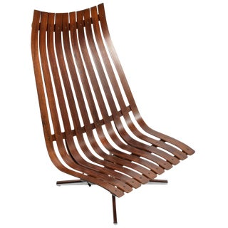 "Hans Brattrud ""Scandia"" Swivel Lounge Chair for Hove Mobler in Rosewood"