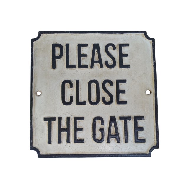 Image of Cast Iron Please Close The Gate Sign