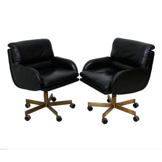 Dunbar Leather and Brass Chairs - Pair