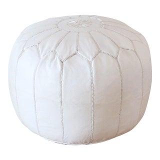 Moroccan White Leather Pouf