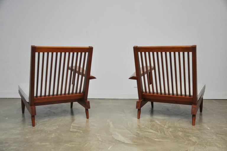 Cherry Spindle Back Lounge Chairs By George Nakashima With Live Edge Arms,  1955   Image