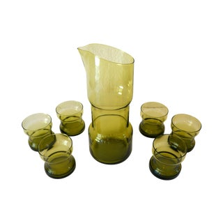Mid-Century Modern Green Glass Barware - Set of 7