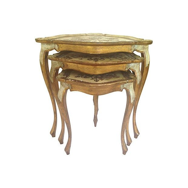 Italian Florentine Wood Nest Tables - Set of 3 - Image 2 of 6