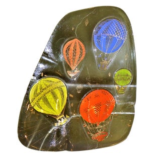 "Fun "" Hot Air Balloons "" by Frances and Michael Higgins, Fused Glass Vessel Ashtray 1960s"