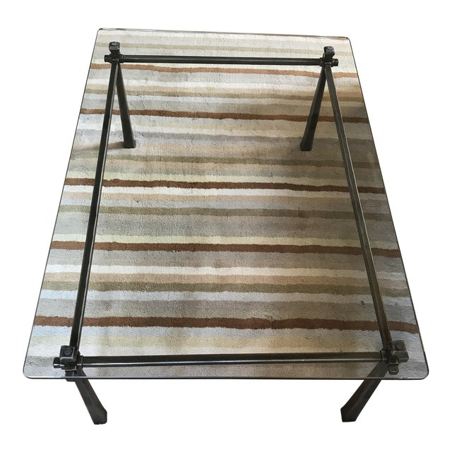 Bloomingdales Iron and Glass Coffee Table - Image 1 of 4