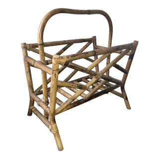 Vintage Chinese Chippendale Natural Bamboo Rattan Magazine Rack