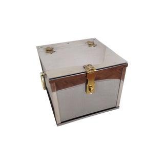 Chrome & Brass Covered Lockable Ice Bucket