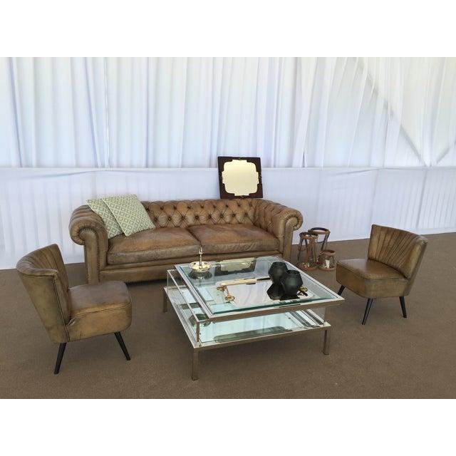 Tufted Olive Light Leather Sofa - Image 2 of 2