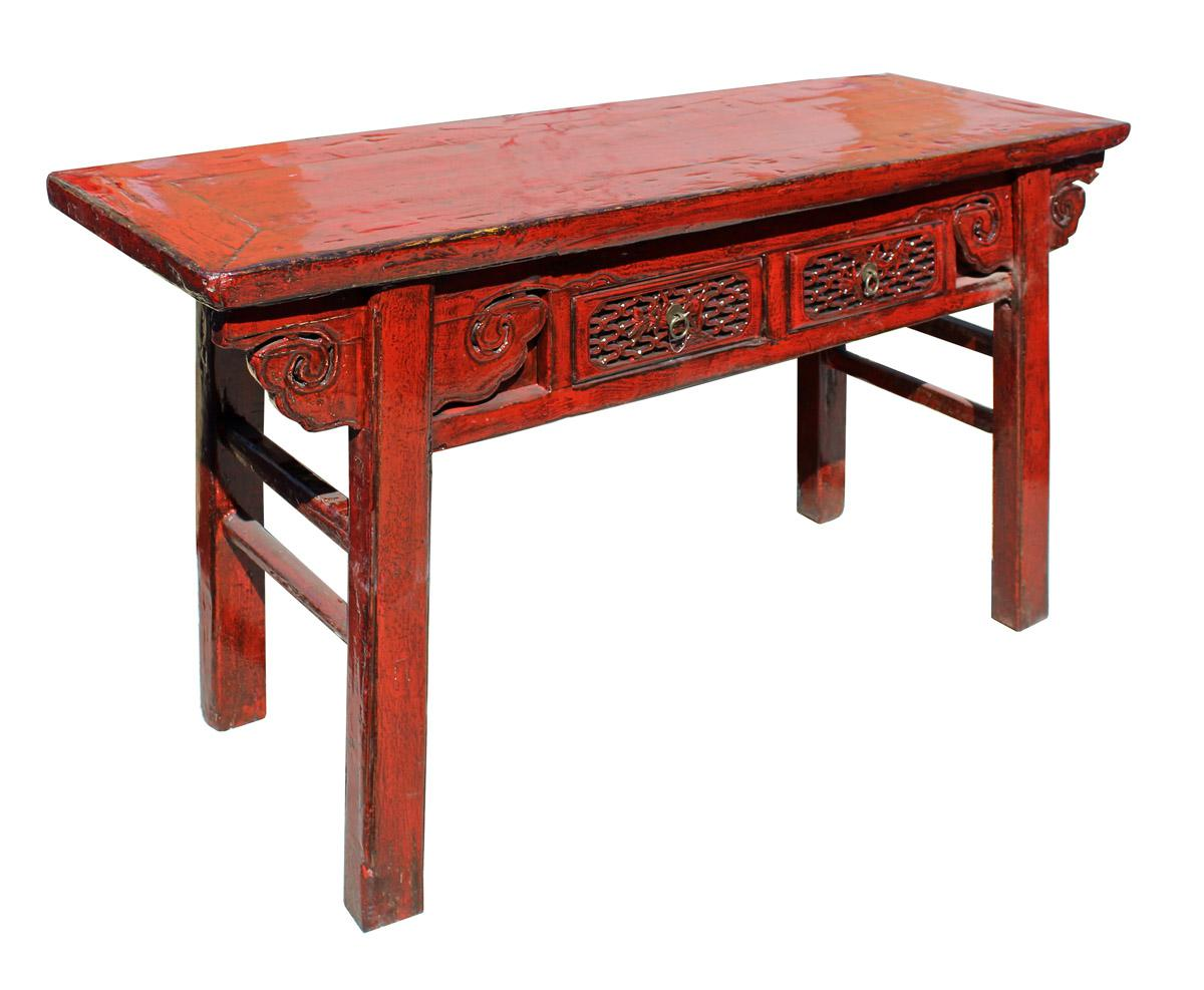 Chinese Distressed Red 2 Drawers Side Pedestal Console Table   Image 4 Of 6