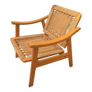 Mid Century Wegner Style Corded Lounge Chair