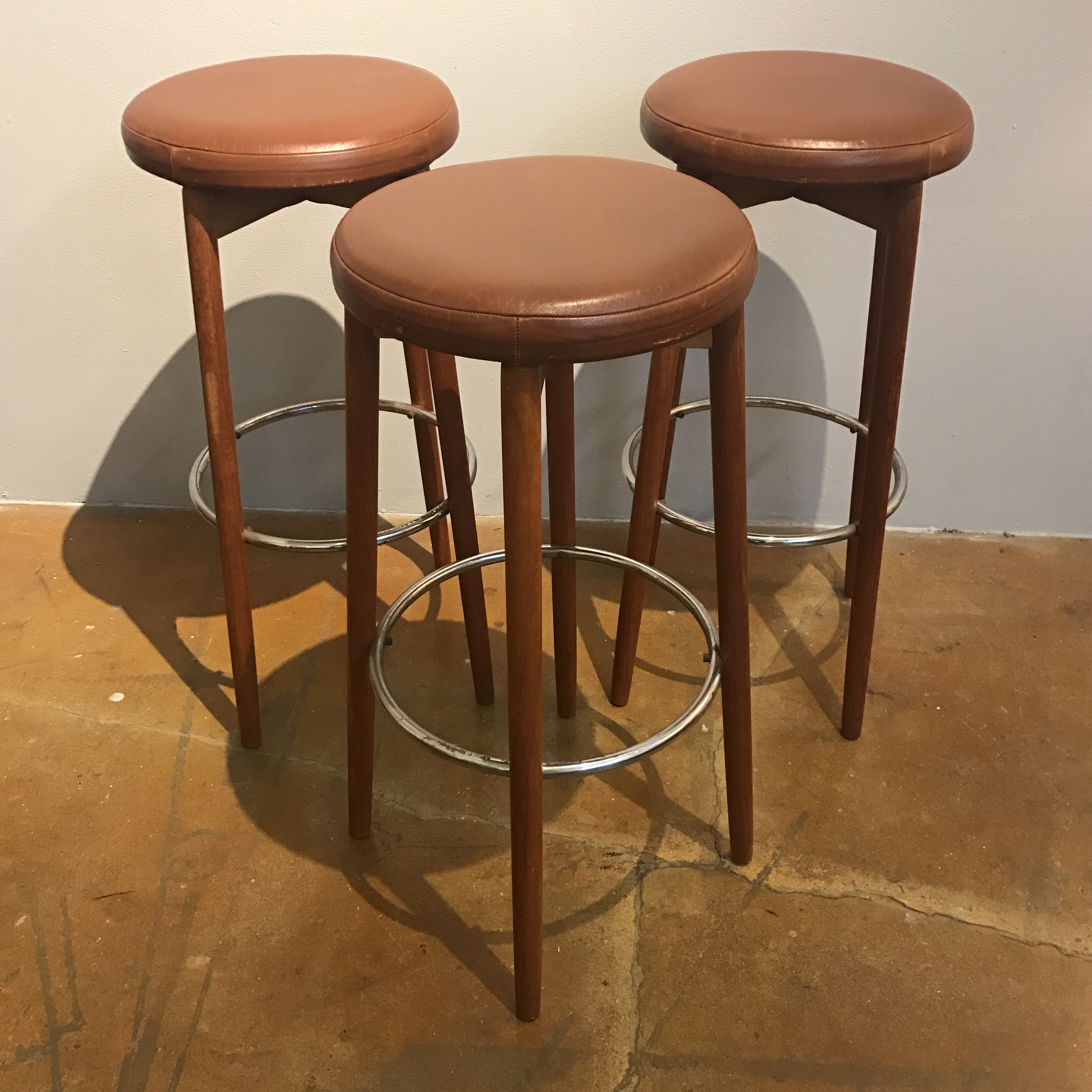 Danish Teak Amp Leather Bar Stools Set Of 3 Chairish